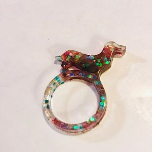 Confetti dachshund resin ring for sale